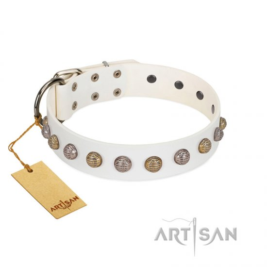 """Into the White"" Designer Handmade FDT Artisan White Leather Boxer Collar"