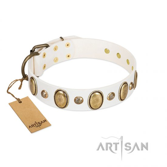 """Milky Lagoon"" FDT Artisan White Leather Boxer Collar with Vintage Looking Oval and Round Adornments"