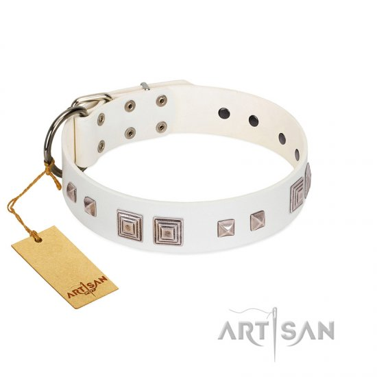 """Pure Quadratic"" Designer Handmade FDT Artisan White Leather Boxer Collar"