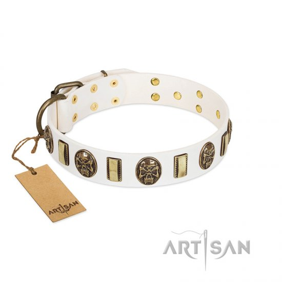 """Mystery of Times"" FDT Artisan White Leather Boxer Collar with Plates and Medallions with Skulls"
