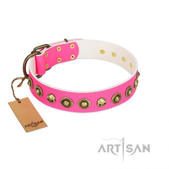 """Pawty Time"" FDT Artisan Pink Leather Boxer Collar with Decorative Skulls and Brooches"