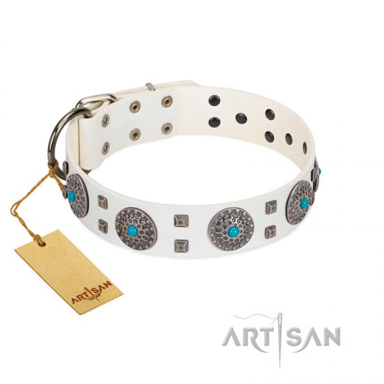 """Blue Sapphire"" Designer FDT Artisan White Leather Boxer Collar with Round Plates and Square Studs"