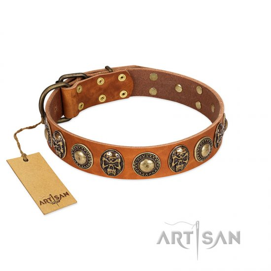 """Golden Epoch"" FDT Artisan Tan Leather Boxer Collar with Old Bronze-plated Medallions and Conchos"