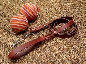 Handcrafted leather dog leash with quick release snap hook for Boxer