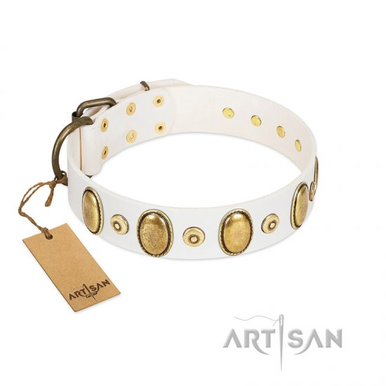 """Pearly Grace"" FDT Artisan White Leather Boxer Collar with Engraved Ovals and Small Dotted Studs"