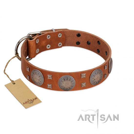 """Sun Rise Noon"" FDT Artisan Tan Leather Boxer Collar with Unique Design"