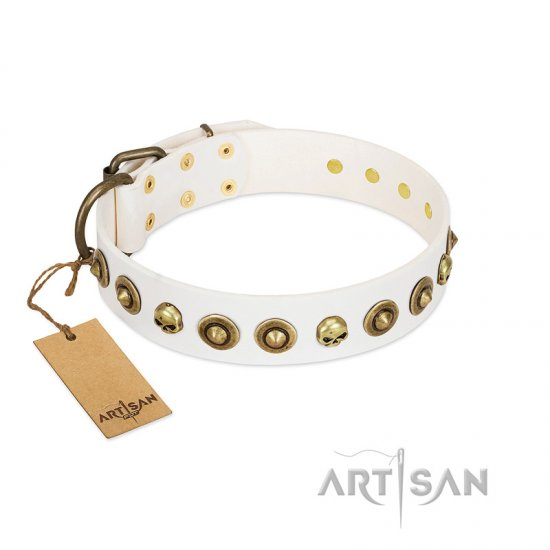 """Wondrous Venture"" FDT Artisan White Leather Boxer Collar with Skulls and Brooches"