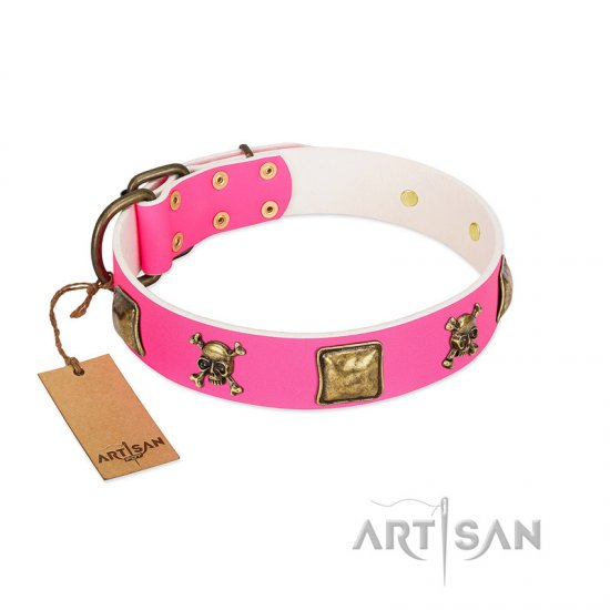 """Wild and Free"" FDT Artisan Pink Leather Boxer Collar with Skulls and Crossbones Combined with Squares"