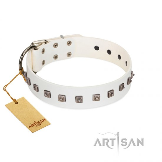 """True Grace"" Premium Quality FDT Artisan White Designer Leather Boxer Collar"
