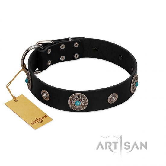 """Blue Gems"" FDT Artisan Black Leather Boxer Collar with Chrome Plated Studs and Conchos"