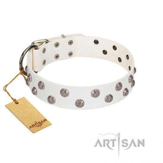 """Wild Flora"" FDT Artisan White Leather Boxer Collar with Silver-like Engraved Studs"
