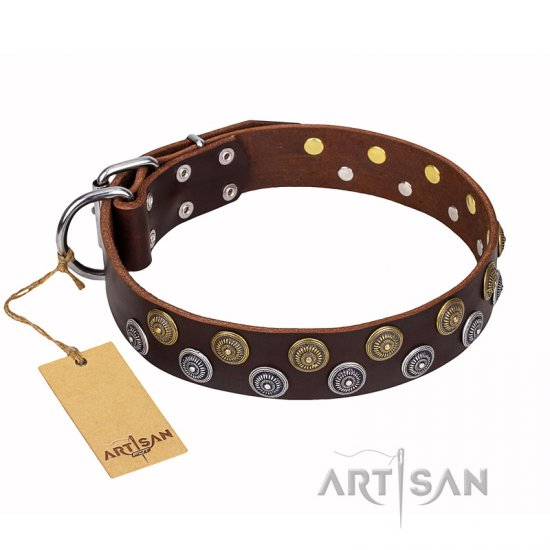 'Strong Shields' High-quality FDT Artisan Decorated Leather Boxer Collar - 1 1/2 inch (40 mm) wide