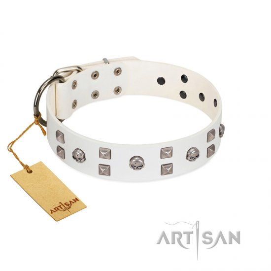 """Rock the Sky"" Durable FDT Artisan White Leather Boxer Collar with Chrome-plated Decorations"
