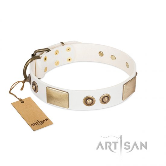 """Noble Impulse"" FDT Artisan White Leather Boxer Collar Adorned with Antique Plates and Studs"
