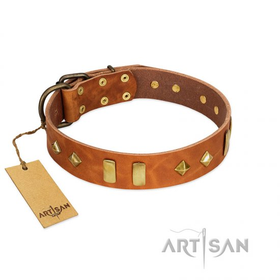 """Woofy Dawn"" FDT Artisan Tan Leather Boxer Collar with Plates and Rhombs"