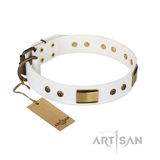 """Precious Necklace"" FDT Artisan White Leather Boxer Collar with Old Bronze Look Plates and Studs"