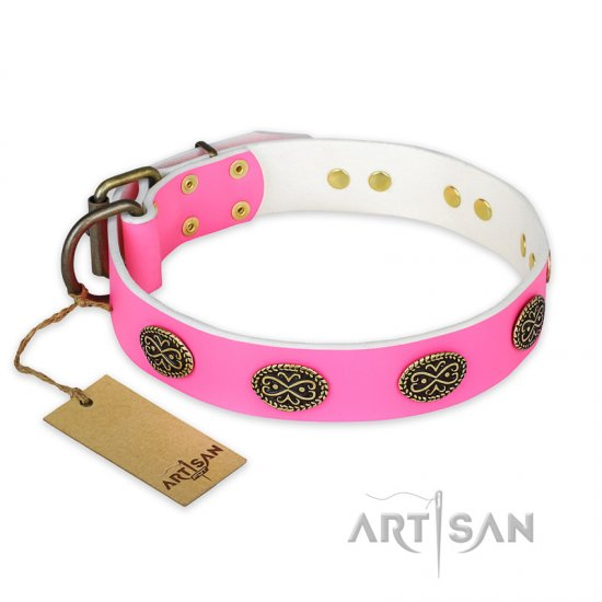 """Forever Fashion"" FDT Artisan Leather Boxer Collar with Old Look Plates - 1 1/2 inch (40 mm) wide"
