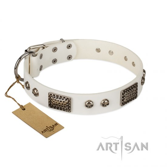"""Terrific Beauty"" FDT Artisan Beguiling White Leather Boxer Collar"
