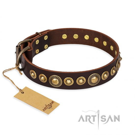 """Ancient Warrior"" FDT Artisan Fancy Leather Boxer Collar with Old-Bronze Plated Decorations"