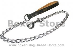 Chain Lead with leather handle for Boxer