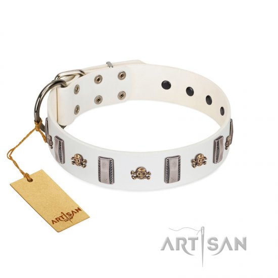 """Mysterious Voyage"" FDT Artisan White Leather Boxer Collar with Engraved Plates and Skulls"