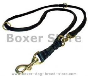 Rolled Dog Leash - Training Leather dog Leash for Boxer
