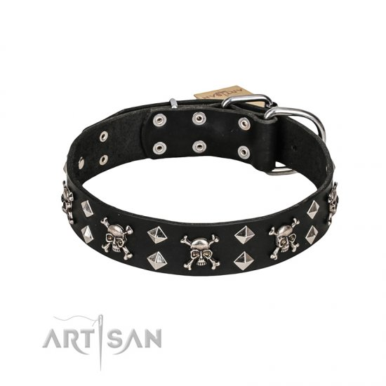 FDT Artisan 'Rock 'n' Roll Style' Leather Boxer Collar with Skulls, Bones and Studs 1 1/2 inch (40 mm) wide
