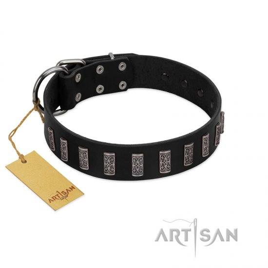 """Black Prince"" Handmade FDT Artisan Black Leather Boxer Collar with Silver-Like Adornments"