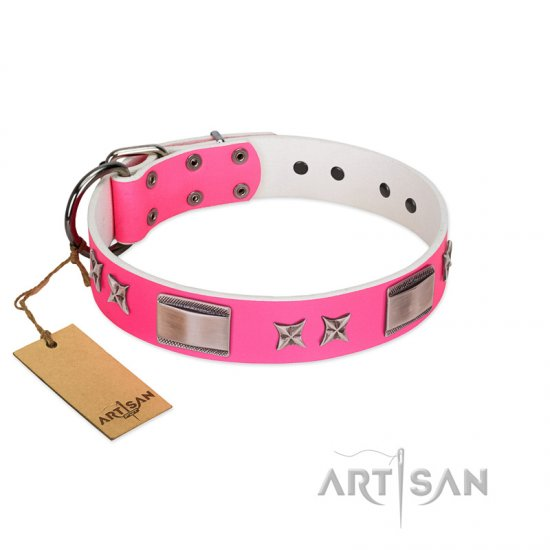 """Pinky Fantasy"" Pink FDT Artisan Leather Boxer Collar with Chrome-plated Stars and Large Plates"