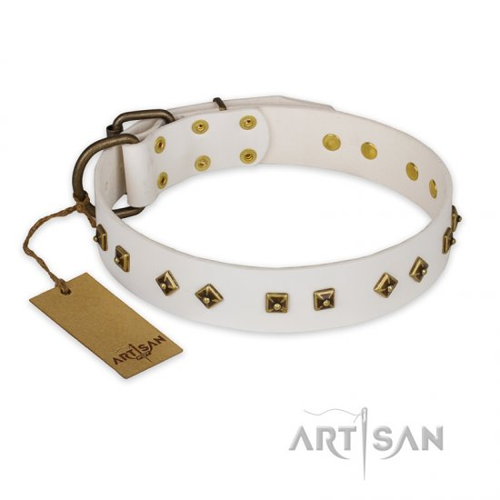 """Snow Cloud"" FDT Artisan White Leather Boxer Collar with Square and Rhomb Studs"