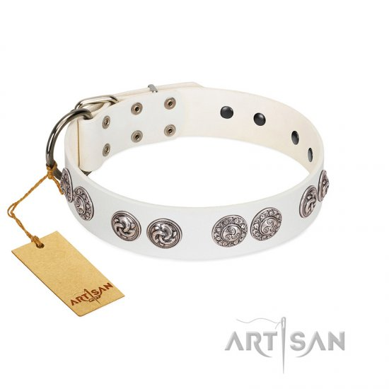 """Eye Candy"" Appealing FDT Artisan White Leather Boxer Collar with Chrome Plated Medallions"