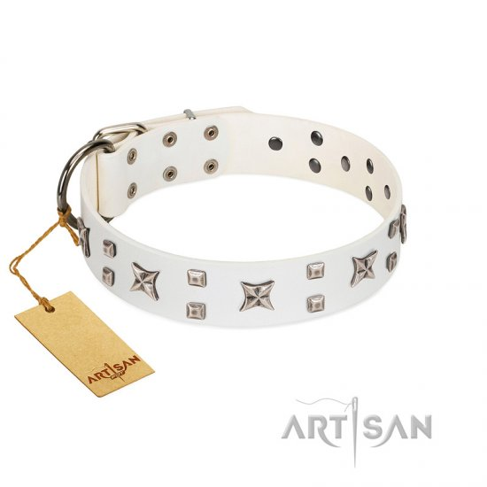"""Star Patrol"" FDT Artisan White Leather Boxer Collar Adorned with Stars and Studs"