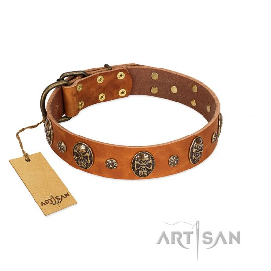 """Rockstar"" FDT Artisan Tan Leather Boxer Collar with Engraved Studs and Medallions"