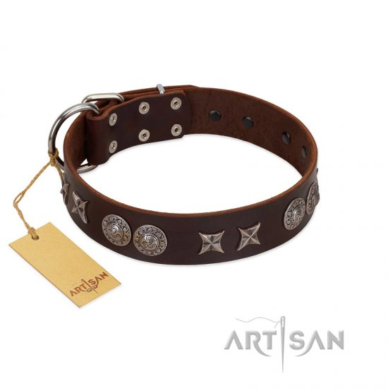 """Antique Style"" Designer Handmade FDT Artisan Brown Leather Boxer Collar"
