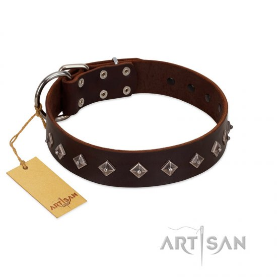 """Boundless Energy"" Premium Quality FDT Artisan Brown Designer Leather Boxer Collar with Small Pyramids"