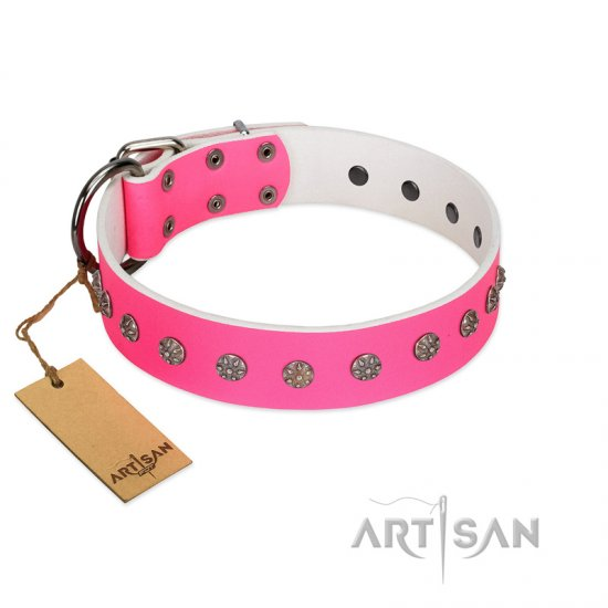 """Pink Blooming"" FDT Artisan Pink Leather Boxer Collar with Silver-Like Flowers"
