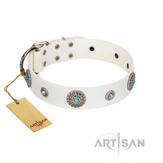 """Lush Life"" Designer Handcrafted FDT Artisan White Leather Boxer Collar with Blue Stones"