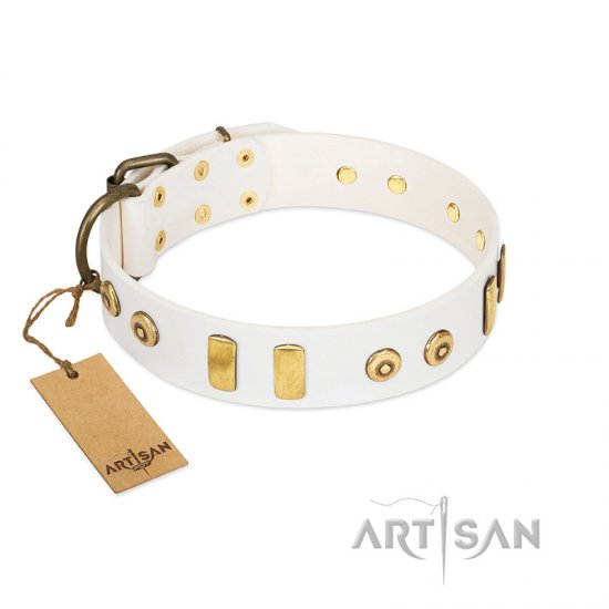 """Golden Union"" Elegant FDT Artisan White Leather Boxer Collar with Old Bronze-like Dotted Studs and Tiles"