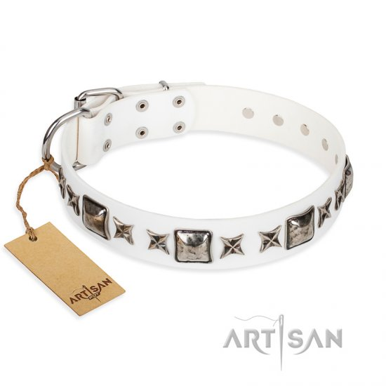 """Intergalactic Travelling"" FDT Artisan Handcrafted White Leather Boxer Collar"