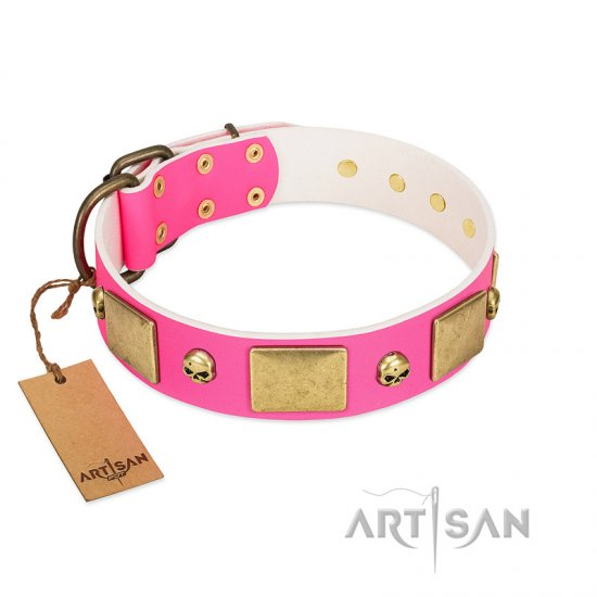 """Glammy Voyage"" FDT Artisan Pink Leather Boxer Collar with Stylish Bronze-like Decorations"