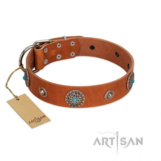 """Marine Antiques"" Handmade FDT Artisan Tan Leather Boxer Collar with Blue Stones"