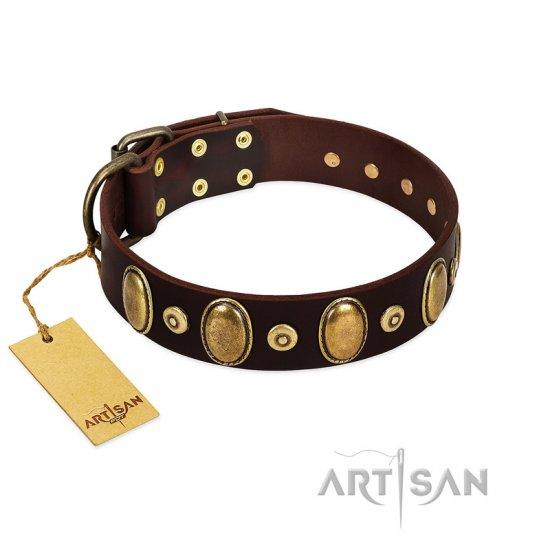 """Retro Pusle"" FDT Artisan Brown Leather Boxer Collar with Old Bronze-like Studs and Oval Brooches"