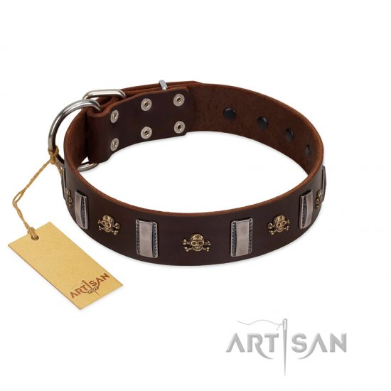 """War Chief"" FDT Artisan Genuine Brown Leather Boxer Collar with Skulls and Plates"