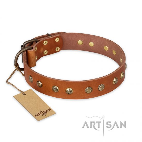 """Spring Flavor"" FDT Artisan Adorned Leather Boxer Collar with Old Bronze-Plated Engraved Studs"
