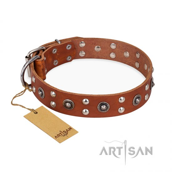 """Silver Elegance"" FDT Artisan Decorated Leather Boxer Collar with Old Silver-Like Plated Studs and Cones - Click Image to Close"
