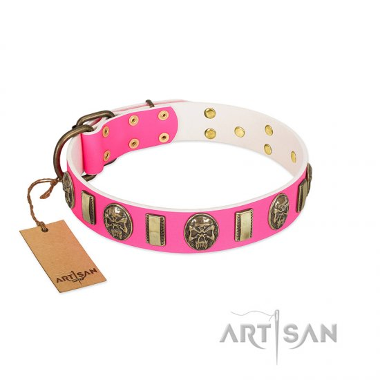 """Perilous Beauty"" Pink FDT Artisan Leather Boxer Collar with Small Plates and Skulls"