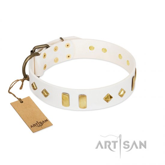 """Hella Cool"" FDT Artisan White Leather Boxer Collar Adorned with Plates and Rhombs"