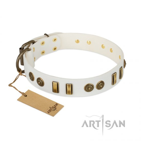 """Midsummer Snow"" FDT Artisan White Leather Boxer Collar with Old Bronze-like Plates and Circles"