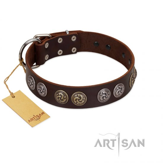 """Treasure Hunter"" FDT Artisan Brown Leather Boxer Collar with Old-Bronze-like and Silvery Medallions"