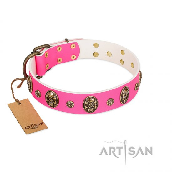 """Fashion Show"" FDT Artisan Pink Leather Boxer Collar with Old Bronze-like Skulls and Studs"